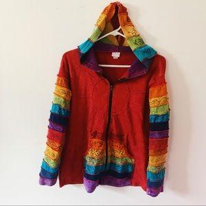 Tops - Boho Hippie Rainbow Patchwork Zip Up Hoodie